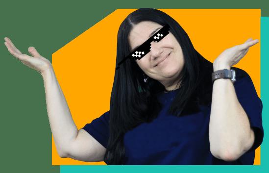 Foto da Professora Mercedes com um óculos Meme Thug Life 3 Bits